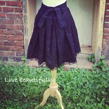 Vintage Skirt Black Lace High Waist