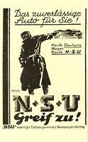 NSU Auto Motorrad Neckarsulm Reklame von 1927 Motorrad Fahrrad ad