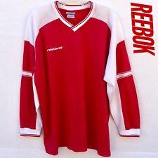 Reebok Mens Size Medium Long Sleeve Athletic Shirt Red White