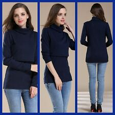 BNWT NAVY MATERNITY NURSING BREASTFEEDING POLO NECK JUMPER TOP 8 10 12 14 16 18