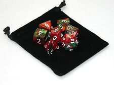 New Chessex Polyhedral Dice Set with Bag Red Green Gemini 7 Piece Christmas D&D