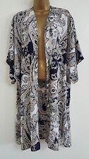 NEW ExEv-ns Plus Size 16-28 Paisley Print Blue White Longline Kimono Top Tunic