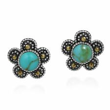 Vintage Daisy Flower Turquoise and Marcasite .925 Silver Post Earrings