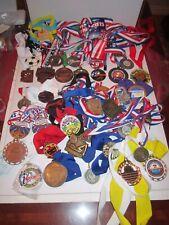 18 LBS  OF ASSORTED WINNING MEDALS - SWIMMING, RUNNING, KARATE, BASEBALL, GYMNAS
