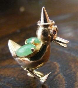 Duck Figurine with Natural Ruby and Jadeite, 14 k Rose Gold, Collectable