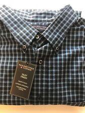 2XB Roundtree & Yorke Long Sleeve Button Down Shirt, Blue Check