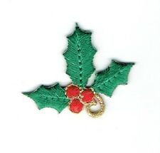 Small/Mini Christmas Holly Leaves/Red Berries Iron on Applique/Embroidered Patch
