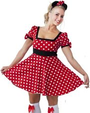 WOMEN'S MINNIE MOUSE COSTUME FANCY DRESS - LADIES SIZE 8-12 - FREE HEADBAND