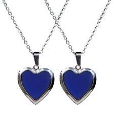 2pcs Heart Shape Stainless Steel Pendant Photo Frame Color Change Necklace