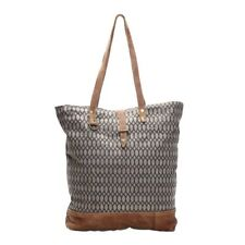 Honey Bee Canvas & Leather Large Tote Shopper Handbag Overnight NEW