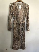 B# H&M Womens Light beige/Snakeskin pattern Wrap Dress Uk 6