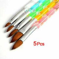 5PCS DIY Acrylic Nail Art UV Gel Carving Pen Brush Liquid Powder No.2 4 6 8 10 !
