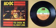 """EX/EX AC/DC 1980 YOU SHOOK ME ALL NIGHT LONG  7"""" VINYL 45 P/S (K 11321)"""