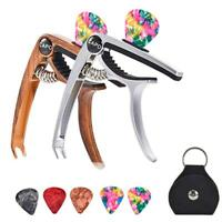 5X Aluminum Capo Clamp with Picks Pick Holder for Electric Guitar Bass Ukulele