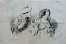 "Lithographie originale de DAUMIER, ""Physionomies tragico-classiques"""
