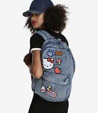 Loungefly Hello Kitty Acid Wash denim patch jean Backpack school bag Sanrio