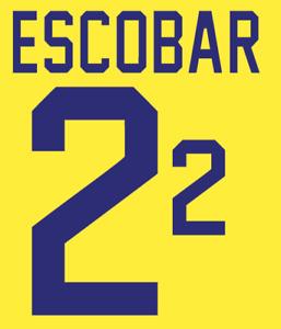 Colombia Escobar Nameset 1994 Shirt Soccer Number Letter Heat Print Football