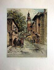 Josef Eidenberger Original Handcolored Etching, Pencil Signed Modling, Austria
