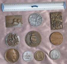 """Lot de 10 médailles """" Monnaie de Paris & divers """" en bronze et bronze argenté"""