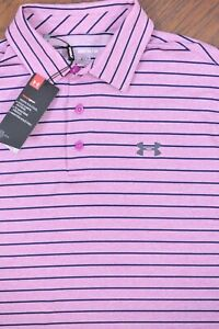 NWT Under Armour Playoff Polo Shirt Purple Heather Stripe Men's Medium M