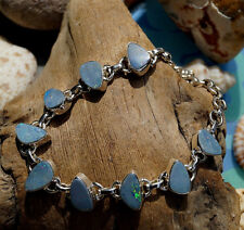 Armband Silber Boulder Opal Boulderopal 18 - 21 cm Blau Schlicht Freiform Flash