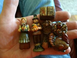 6 Thanksgiving Fall Hand Painted Resin Stand Up Decorations Salem Collection
