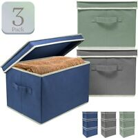 3-Pack Foldable Storage Bins Organizer - Fabric Storage Boxes w/ Lids & Handles