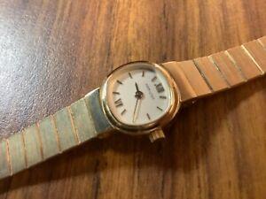 hamilton womens beautiful gold e.p. quartz dress watch new battery 7 1/4 in. fit