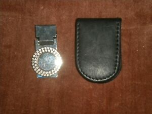 LOT OF 2  MONEY CLIP  1 SILVER COLOR AND 1 LEATHER BLACK COLOR VERY SLIM