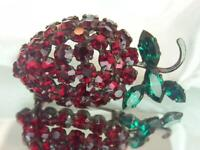 Austria Signed Vintage 50's Red Pronged Rhinestone Berry Brooch 190D9