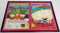 South Park 1999 PS1 Playstation Framed 12x18 ORIGINAL Advertising Display