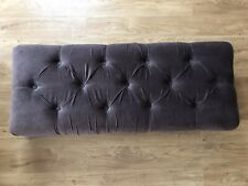 Grey/Brown Velvet Chesterfield Pattern Ottoman Stool Top Piece