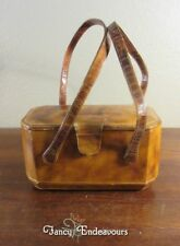 Vintage Italian Leather Box Purse with Mirror