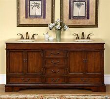 "72"" Travertine Stone Top Lavatory Double Sink Cabinet Bathroom Vanity 715T"