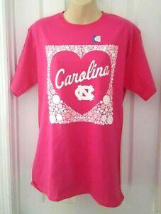 North Carolina Tar Heels Womens T Shirt Size Medium Pink Heart Bubbles Logo New