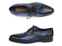 Paul Parkman Men's Parliament Blue Derby Shoes Leather Upper & Sole  Hand Made