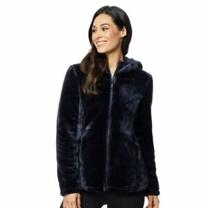 New Womens 32 Degrees Super Soft Fleece Plush Hooded Jacket Navy UK XL (A1)