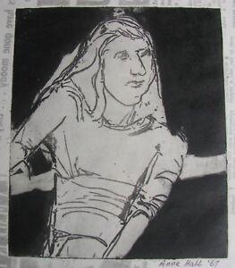 "ANNE HALL AUSTRALIAN UNFRAMED LINE AQUATINT ""GIRL PORTRAIT"" 1967 A"