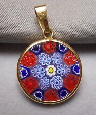 Italian Murano Millefiori Glass Flower Pendant  Charm 18K .750 Gold Bezel & Bale
