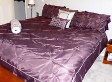 Purple & Silver KING Sz BEDSPREAD Pintuck Pleat Comforter SET, 4 Pillows,2 Shams