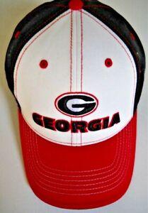 GEORGIA UGA BULLDOGS ADULT ADJUSTABLE WHITE/BLACK CAP HAT W/ G LOGO & STATE NAME