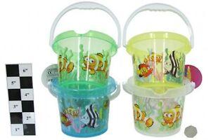 Beach Sand Bucket  13.5cm Diameter Plastic Transparent  Pourer