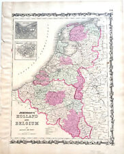 1862 MAP HOLLAND & BELGIUM AMSTERDAM BRUSSELS ORIGINAL OLD JOHNSON HAND COLORED