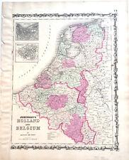 1862 MAP HOLLAND & BELGIUM AMSTERDAM BRUSSELS ORIGINAL OLD JOHNSON HAND COLORED