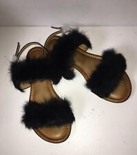 Women Fashion ,Sandals Black,Fox Fluffy, Size 6 , Confortable For This Summer