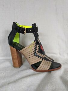Coach Lorrie Mat Calf Black Nude Huarache Sandal Size 6