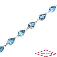 Estate 10.80ct Blue Topaz 18K White Gold Link Bracelet NR