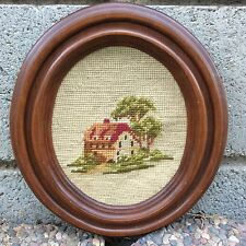 COTTAGE House Cabin Farmhouse NEEDLE POINT Needlepoint Oval Brown Framed Vintage