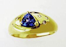 14KT YELLOW GOLD BEAUTIFUL! LADIES TANZANITE AND DIAMONDS RING (10693)