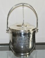 "Vintage NEWPORT BY GORHAM Silverplate Ice Bucket w/ Lever Lid - 12 1/2"" x 8 1/2"""